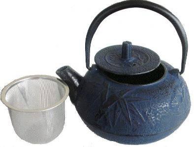 Blue Cast Iron teapot complete